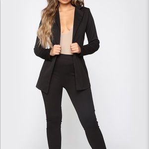 NEW black blazer set fashion nova XS